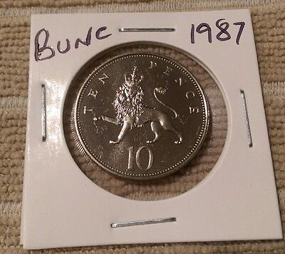 1987 Brilliantly uncirculated 10p coin, Royal Mint, GB, Ten Pence,Unc/Bunc