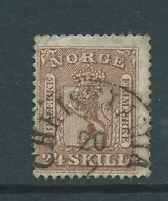 NORWAY 1863 24sk USED  SEE BOTH SCANS FOR CONDITION