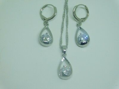 925 Sterling Silver CZ Earring and Necklace Set