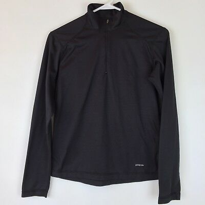 Patagonia Womens Medium Capilene Quarter Zip Base Layer Top Black Lightweight