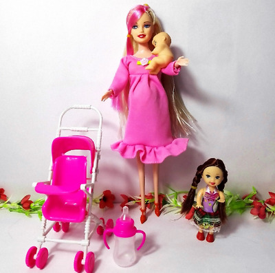 NEW-Pregnant Barbie Doll Midge Happy Family Lot Clothes Baby Belly Dress Shoes