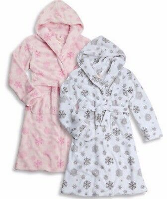 Girls Pink White Silver Snowflake Fluffy Xmas Dressing Gown Robe 2 3 4 5 6 SALE
