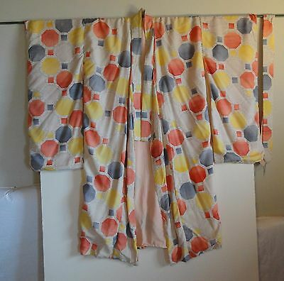 Vintage Geometric Print Kimono - navy, yellow, orange, white, gray