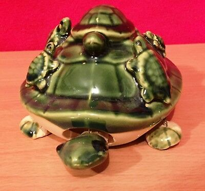 """6"""" Green Bobble Head Ceramic Turtle Figurine with 5 Baby Turtles Feng Shui"""