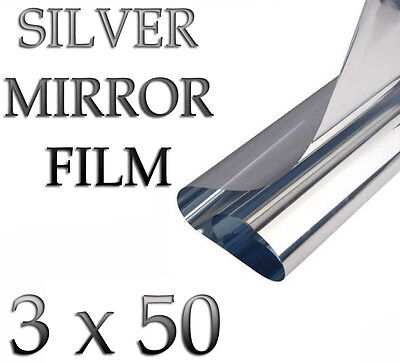 3m x 50cm SILVER CAR VAN HOME WINDOW FILM TINTING SHADE KIT MIRROR EFFECT 2T