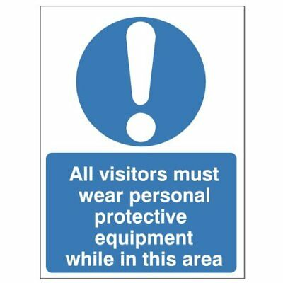 All Visitors Must Wear PPE While In This Area Sign  150 x 200 Rigid Plastic