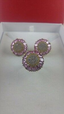 Daisy Design Turkish 925 Sterling Silver  Jewelry Pink Topaz Ladies  Set
