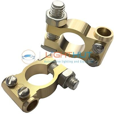 2 Pce 12V Premium Quality Machined SOLID BRASS Battery Terminals Clamps Pos/Neg