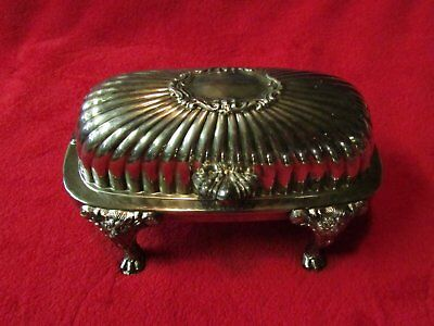 Antique F.B. Rogers, 1883, rolltop, lion-footed butter dish