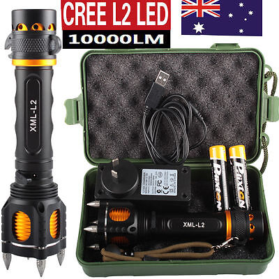 10000LM CREE L2 LED Tactical Flashlight USB Rechargeable Torch With Attack Heads