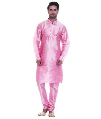 New Traditional Pink Silk Blend Kurta Pajama Men's Designer Casual Ethnic Dress