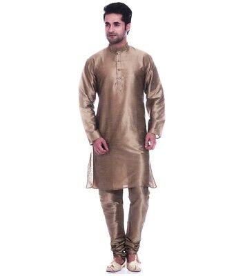 New Bollywood Brown Silk Blend Kurta Pajama Men's Designer Casual Ethnic Dress