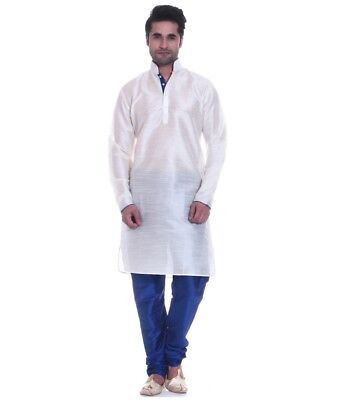 Bollywood Traditional Wear Beige Men's Kurta Pajama Designer Ethnic New Dress
