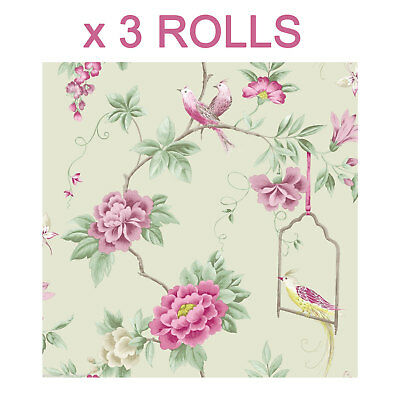 Birds Wallpaper Amethyst Willow Flowers Floral Leaves Wildlife Nature x 3 Rolls