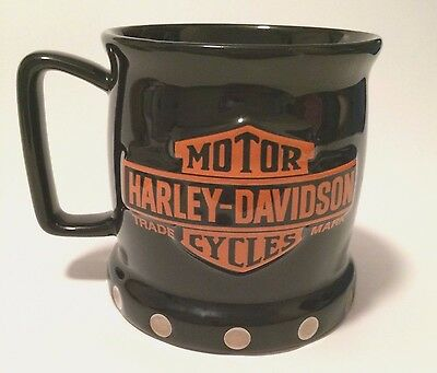 HARLEY DAVIDSON Official Licensed Black Large Coffee Cup Mug Raised Logo