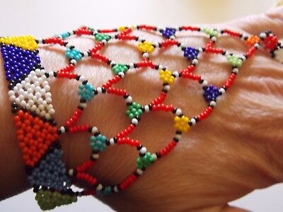 South African Zulu Bright Beaded Ring to Wrist Bracelet - Handmade Unique Tribal