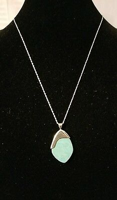 Jay King Sterling Silver Turquoise Flat Cut Pendant W/chain 24""