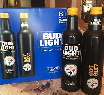Pittsburgh Steelers Bud Light Beer Aluminum Bottles (empty) 2017 Cans