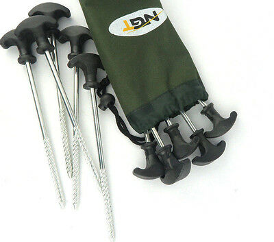 10x Heavy Duty NGT Camping Fishing Bivvy Tent Shelter Pegs with Waterproof Pouch