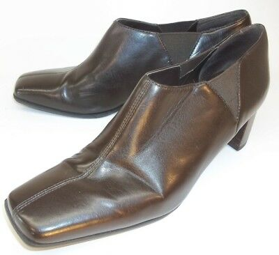 6f1422ab1 Nine West EYEWITNESS Wos US 8M Brown Vegan Leather Slip-On Work shoes heels  695