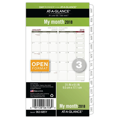 AT-A-GLANCE Day Runner Monthly Planner Refill, January 2018 - December 2018, 3-3