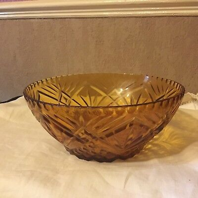 French Art Amber Glass Fruit/trifle Bowl
