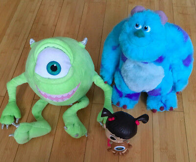 Disney Store Monsters Inc Mike And Sully Soft Toys and Boo hard toy