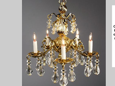 "Dollhouse Miniature Lighting Electrical CHANDELIER ""Jacqueline"" BRASS"