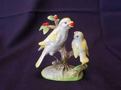 Vintage Porcelain Canary Figurine Mother And Baby on an Apple Tree