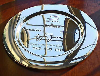 Ayrton Senna, World Champion F1 Winner's Platter. Trophy Style Charger Plate.