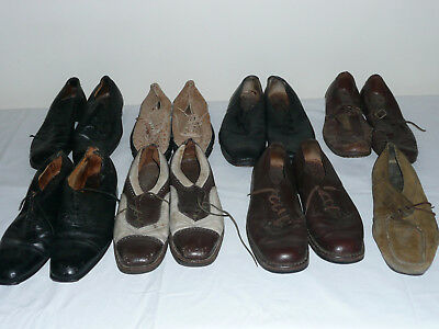 7x Men's Old Vintage Shoes [Size 8/9] Genuine Leather Sole to Restore or Costume