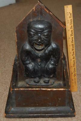 antique nutcracker cast iron man wood box 1920's vintage pecan nut cracker
