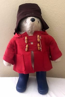 "Vintage 1980 Paddington Bear 19"" Plush Doll Blue Boots Red Coat Brown Hat"