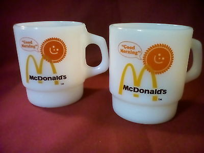 2 Vintage McDonald's Good Morning White Anchor Hocking Fire King Coffee Mugs