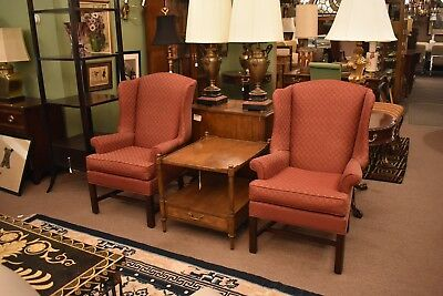 Pair Of Shell Pattern Upholstered Wingback Chairs