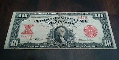 1937 10 Pesos Philippine National Bank Banknote Note  Philippines