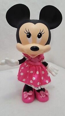 """12"""" Tall Disney MINNIE MOUSE Figure Poseable Hard Plastic Doll with pink shoes"""