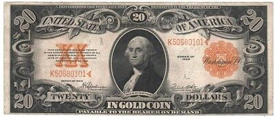 1922, $20.00, Gold Certificate - Extra Fine/about Unc., Ungraded