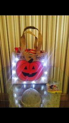 Trick or treat illuminated bag hand made to order. Can be personalised