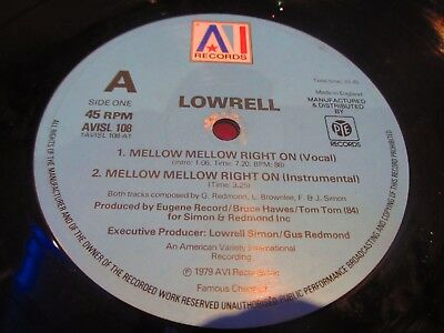 """Lowrell - Mellow Mellow Right On 12"""" SINGLE AI RECORDS 1979 SOUL/FUNK VG+"""
