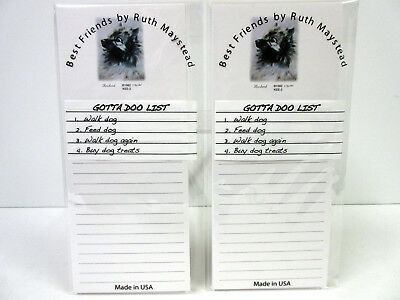 New Keeshond Dog Magnetic Refrigerator List Pad Set of 2 Pads By Ruth KEE-2