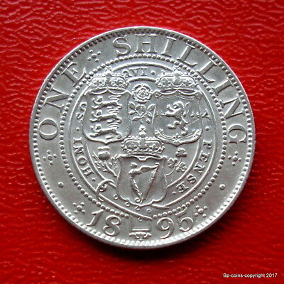 Queen Victoria 1895 Old Veiled Bust Shilling High Collectable Grade.