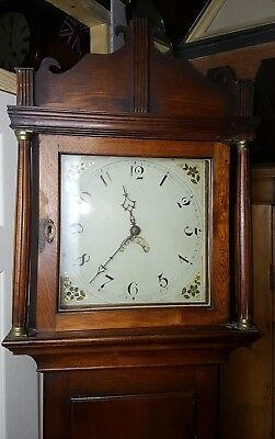 Georgian Oak Longcase Grandfather Clock 30Hr Birds Cage Movement