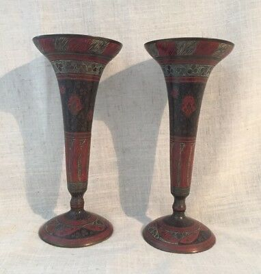 "Pair Of Vintage Indian Patinated Brass Copper Vase With Enamel  8"" Tall"