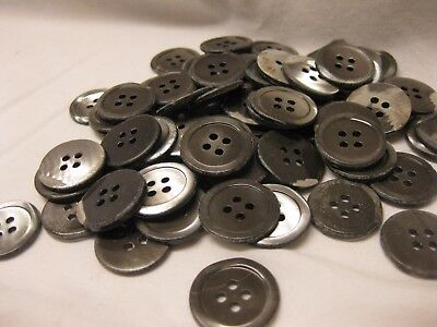 "Antique Vintage Buttons Silvery/Grey Mother of Pearl Shell lot of 75 7/8"" 4 hole"