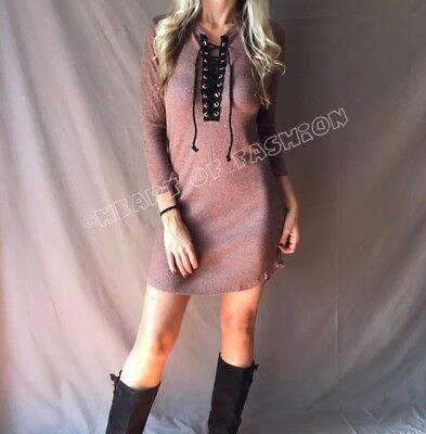 Women's Lace Up Plunge Ribbed Bodycon 3/4 Sleeve Stretch Mini Sweater Dress