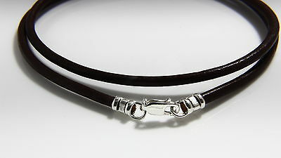 925 Silver Leather Cord Thong Necklace  Brown Choice Of Clasp