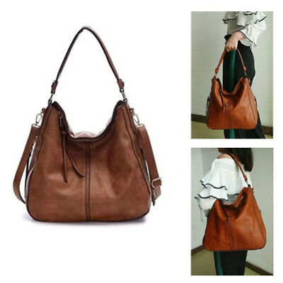 Vintage Durable Leather Tote Handbag/Shoulder Bag For Women Brown 13.5x 5.8x12In