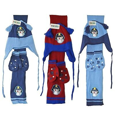 Baby Hat Scarf And Gloves Set Boys Mittens Chin Tie Hat Tassels Police Dog 1-2 Y