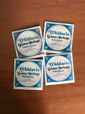 4x Vintage late70's D'Addario Original Classical Folk Guitar Strings Lindenhurst